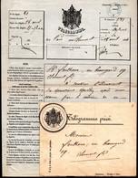 Télégramme Privé De Paris à Clermont De 1864 Avec Son Enveloppe Et Cachet D'arrivée à Clermont - Télégraphes Et Téléphones
