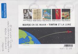 Enveloppe   BELGIQUE  Bloc  Feuillet   TINTIN  ET  LA  LUNE   BRUXELLES    2006 - Bandes Dessinées