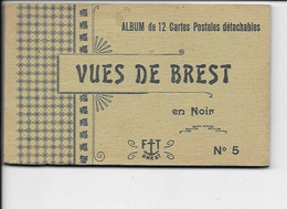 Vues De BREST En Noir N°5 - Carnet Album Complet De 12 Cartes De Chez FT. - Brest