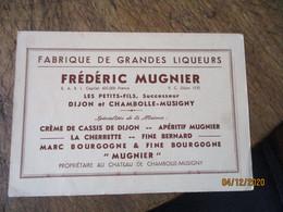 Frederic Mugnier Dijon Chambolle Musigny Fabrique Grandes Liqueurs Carte Identification Plaque Imatriculation  Par Depar - 1900 – 1949