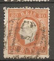 POR - Yv. N° 43A Dent 12 1/2 Papier Ordinaire (o)  80r  Orange Louis Ier  Cote 35 Euro  BE R  2 Scans - Used Stamps