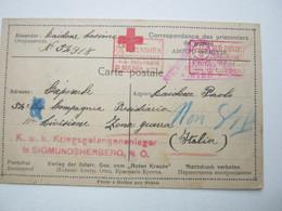 1917 , Kriegsgefangenenlager Sigmundsherberg  , Klarer Stempel Auf Doppelkarte Nach Italien - Cartas
