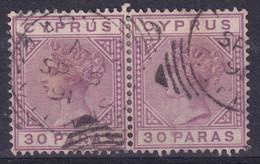 CYPRUS  QV   WMK  CA DIE II  30 PARAS  USED PAIR - Chipre (...-1960)