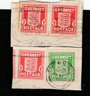 Guernsey 1941: 1/2 D + 3x1 D Gebraucht Auf 2 Brf.-Ausschn.; Erhaltung S. Scan; Michel-Nrn. 1 + 3x 2          O - Occupazione 1938 – 45