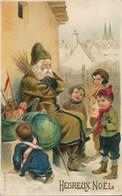 Santa Claus Père Noel Endormi Gaufrée Robe Verte . Green Robe Embossed . Vol De Cadeaux. Texte Père Janvier - Kerstman