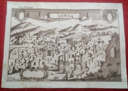 Incisione Su Rame Avellino: Conza Dal Pacichelli 1703 RARA (P355) - Prenten & Gravure