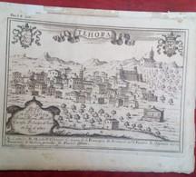 Incisione Su Rame Avellino: Teora (Theora) Dal Pacichelli 1703 RARA (P361) - Prenten & Gravure