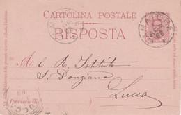 CAMAIORE - LUCCA-CARTOLINA POSTALE DA CENT.7,5 RISPOSTA DEL 1896 SPEDITA IL 1/APR/98 PER LUCCA ARRIVATA LO STESSO GIORNO - Altre Città