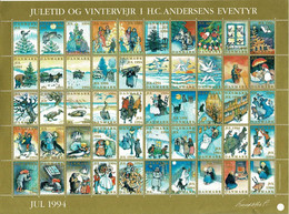 Denmark; Christmas Seals.  Full Sheet 1994: Christmas Time And Winter.  H. C. Andersen Fairytales.  MNH(**). - Fogli Completi