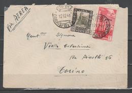 Libia 1941 - Lettera In Posta Aerea Con Pittorica 50 C. E Tripolitania P.a. 50 C.        (g6847) - Libye