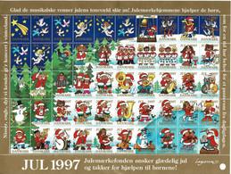 Denmark; Christmas Seals - Angels; Birds; Music  Full Sheet 1997;  MNH (**). - Fogli Completi