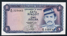 BRUNEI P6a 1 RINGGIT  1972   #A/10      FIRST DATE.   UNC. - Brunei