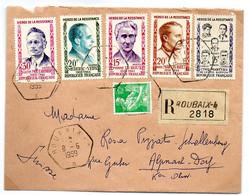 France N° 1198, 1199, 1200,1201,1202 Et 1115A Y. Et T. Roubaix Cachet Type D7 Du 08/06/1959 En Recommandé - 1921-1960: Modern Tijdperk