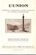 Plaquette Illustrée 2 Volets Compagnie Assurance Auto L'Union Place Vendôme Avec La Carte Postale Réponse Illustrée 1950 - Cars