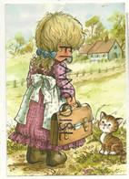 Petite Fille Blonde, Cartable Et Petit Chat. Signée Mary May - Otros Ilustradores