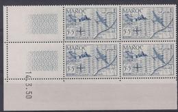 MAROC - PA N° 75 - SOLIDARITE - Bloc De 4 COIN DATE NEUF SANS CHARNIERE 14/3/50 - 1950-1959