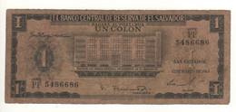 EL SALVADOR  1 Colon   P100a  ( 1963   Banco Central On Front - Cristopher  Columbus On Back) - El Salvador