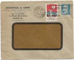 PASTEUR 1FR50 ENVELOPPE A FENÊTRE PARIS 109 1927 + VIGNETTE CONTRE LA TUBERCULOSE - 1921-1960: Modern Tijdperk