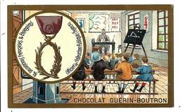 CHROMO ANCIEN  - Médaille Officier Instruction Publique - Thème école - Pub Chocolat Guérin-Boutron - Guerin Boutron