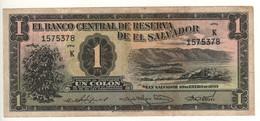 EL SALVADOR  1 Colon   P87a  ( 1950  Coffee Bush, Lake Coatepeque On Front - Cristopher  Columbus On Back) - El Salvador