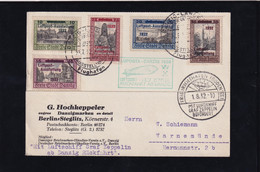 Zeppelin-Karte, Luposta Danzig 1932 Rückfahrt Mit Mi.-Nr: 231-235 - Zeppelin