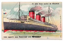 Carte-système -Le Plus Beau Navire De France Vous Apporte Mon Souvenir De GUER  - 10 Vues - Guer Coetquidan