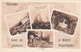 PALERMO-SALUTI DAL SANTUARIO DI MONTE PELLEGRINO-4 VEDUTE-CARTOLINA NON VIAGGIATA-1925-1935 - Palermo