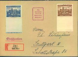 1942, überfrankiertes Einschreiben Mit 10 Und 20 K Je Mit Leerfeld Ab PRAG 1 - Cartas