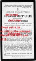 Oorlog Guerre Raymond Coppiet Zele Gesneuveld Bombardement D'une Usine De Munitions Bousbecque Wervik Sud FR26 Juni 1918 - 1914-18