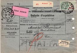 3 X 3F Merson Perforés Et 2F Bulletin Colis 11,05 Kg Molsheim Ets Coulaux 1927 Avec VD 400F Pr Gisors - 1900-27 Merson