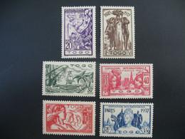 Togo  N° 165 à 170    Exposition Internationale 1937    Série Complète    Neuf * - Ongebruikt