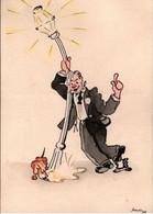 """! """"Laterne, Dackel"""", 1935, Künstlerkarte Sign. Fritz Staab (1918-1942) , Handgezeichnetes Unikat - Altre Illustrazioni"""