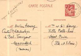 ENTIER POSTAL  IRIS 80c ( HOURRIEZ ) De 1941 Provenance MARRAKECH ( Maroc ) Pour SAINT BRIAC (35 ) - Postales Tipos Y (antes De 1995)