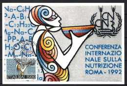 ITALIA - 1992 - CONFERENZA SULLA NUTRIZIONE - ANNULLO PRIMO GIORNO - FIRST DAY- PREMIER JOUR - ERSSTAG - PRIMER DIA - Maximum Cards