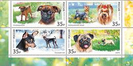 2019-2448-2451 4v-bottom Russia Decorative-room Dogs:Russian Toy,pti-brabanson,pug,Yorkshire Terrier.Mi 2665-2668 MNH - Ongebruikt