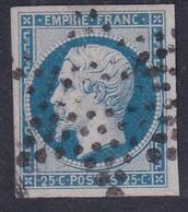 FRANCE - Empire Non Dentelé 25 Cts Bleu YT N°15 Oblitéré étoile - Bien Margé TB - 1853-1860 Napoléon III.