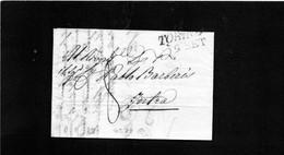 CG58 - Lettera Da Torino Per Intra 9/9/1820 - Annullo Lineare Nero Con Data + Segni Di Tassa - 1. ...-1850 Prephilately