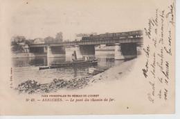 CPA Précurseur Asnières - Le Pont Du Chemin De Fer - Vues Principales Du Réseau De L'ouest (avec Train Et Bateau) - Asnieres Sur Seine