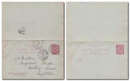 CHINE - Entier Postal Réponse10 Cts Mouchon De TIEN-TSIN Poste Française Pour La Grande-Bretagne (UK) 2/12/1905 - Cartas