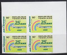 TOGO (1986) Air Afrique 25th Anniversary. Imperforate Corner Block Of 4. Scott No C555. - Togo (1960-...)