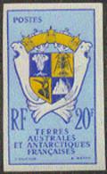 F.S.A.T. (1959) Coat Of Arms. Imperforate. Scott No 15, Yvert No 15. - Geschnitten, Drukprobe Und Abarten