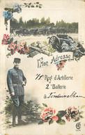 CPA Thèmes Militaria  1938 MON L'ADRESSE 71e REG D'ARTILLERIE 2e BATTERIE A FONTAINEBLEAU  VOIR IMAGES - Andere