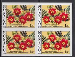 MONACO (1982) Trichocereus Grandiflorus. Imperforate Block Of 4.  Scott No 1317a, Yvert No 1359. - Sonstige