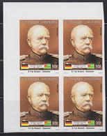 TOGO (1984) Otto Von Bismarck. Imperforate Corner Block Of 4. Scott No 1211, Yvert No 1125. - Togo (1960-...)