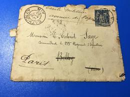 Curiosité 1892-☛France Lettre Timbre Type SAGE Pour Colonel SAGE Cdt 133é Régiment Infanterie Militaria -☛Belley/Paris - Autres