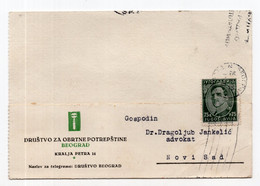 1933. KINGDOM OF YUGOSLAVIA,SERBIA,SOCIETY FOR KRAFT SERVICES,CORRESPONDENCE CARD,USED - Briefe U. Dokumente