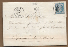 "1867 : Lettre  Avec GC 246  AUTUN + Boite Rurale  G  "" Muse""  ( Saône Et Loire ) : - 1849-1876: Classic Period"
