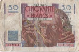 France : 50 Francs 1946 (moyen état) - 50 F 1946-1951 ''Le Verrier''