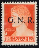 GRS091 - GNR REPUBBLICA SOCIALE - 1,25 LIRE MNH**  SOPRASTAMPA G.N.R. - Nuevos