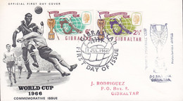 Gibraltar World Cup England FDC 1966 Cover Football Soccer Calcio Fussbal Voetbal Futebol Stamp Exhibition Complete Set - 1966 – Engeland